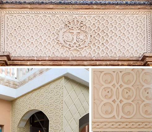 Texturas ornamentales sobre fachada con mortero TCU CUMEN
